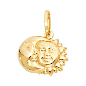 TD Collections 14K Yellow Gold Sun & Moon Pendant