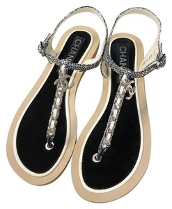 5c9240096 Chanel Chain Chain Thongs Slides Mules Flats Silver Ivory Sandals