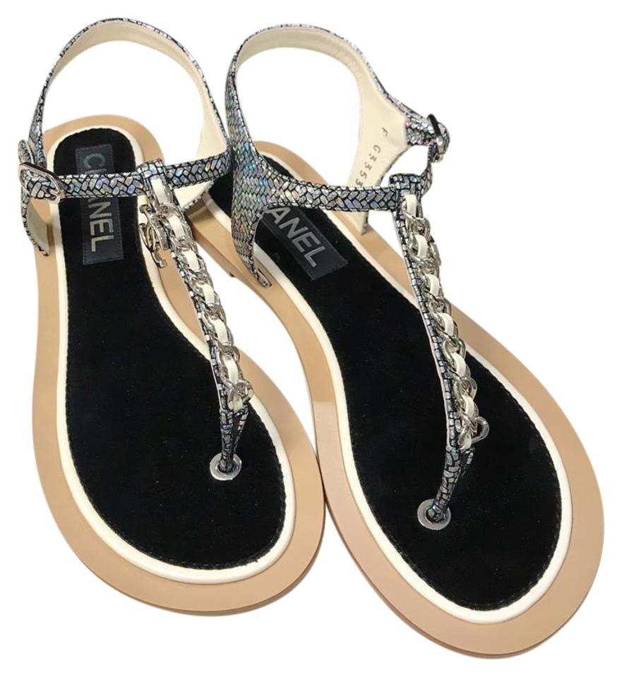 2f973856830dbd Chanel Chain Chain Thong Chain Slides Size 39 Silver Ivory Sandals Image 0  ...