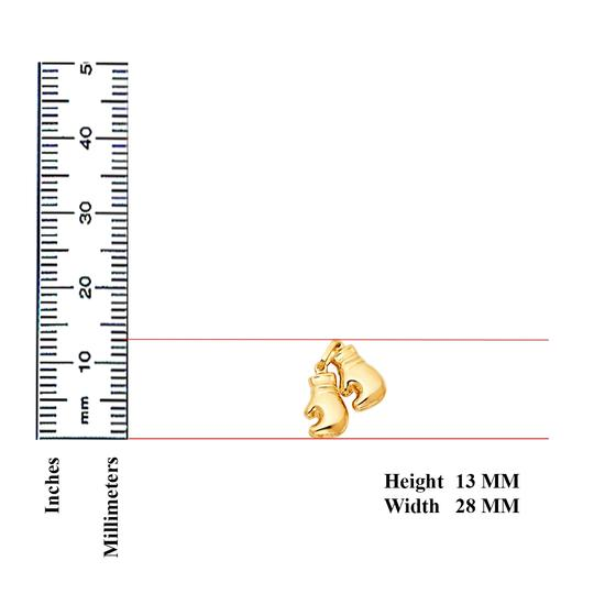 TD Collections 14K Yellow Gold Double Boxing Glove Pendant Image 1