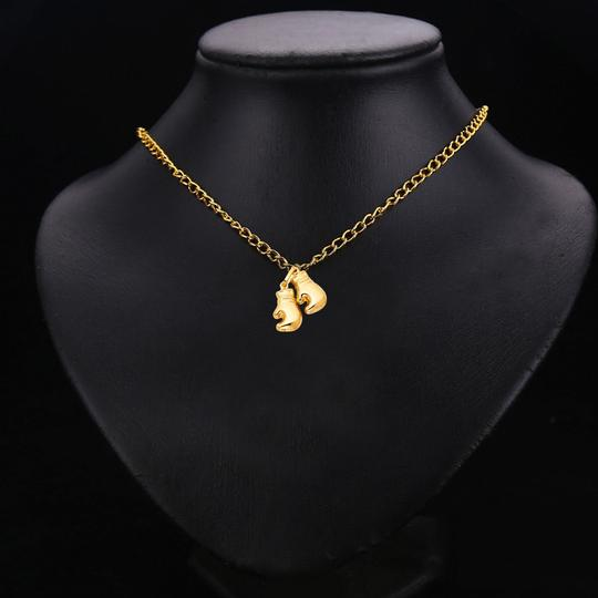 TD Collections 14K Yellow Gold Double Boxing Glove Pendant Image 2