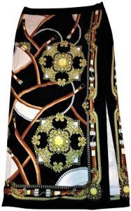 Carmen Marc Valvo Night Out Split Maxi Skirt Black Multi Color