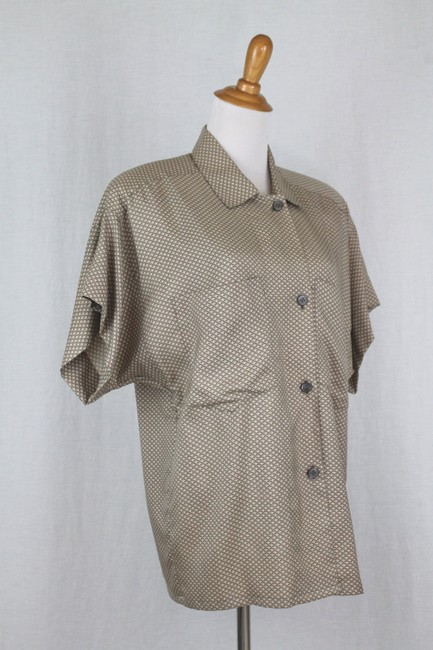 Ellen Tracy Silk Shoulder Pads Short Seeve Button Front Top beige Image 1