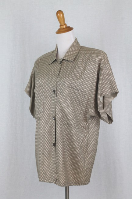 Ellen Tracy Silk Shoulder Pads Short Seeve Button Front Top beige Image 2