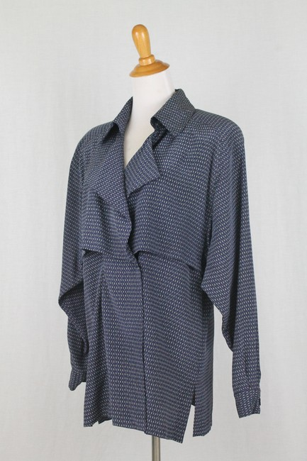 Ellen Tracy Silk V-neck Tunic Longsleeve Button Front Top Blue Image 1