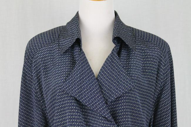 Ellen Tracy Silk V-neck Tunic Longsleeve Button Front Top Blue Image 4
