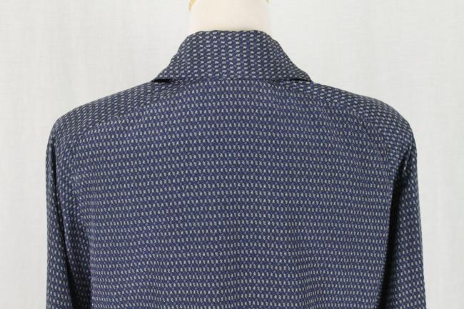 Ellen Tracy Silk V-neck Tunic Longsleeve Button Front Top Blue Image 6