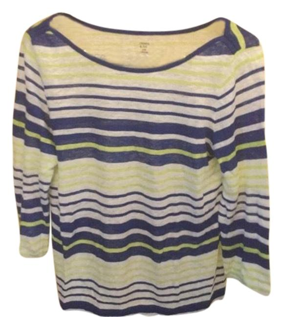 Preload https://img-static.tradesy.com/item/23872848/green-and-blue-cute-long-sleeve-stripe-blouse-size-petite-8-m-0-1-650-650.jpg