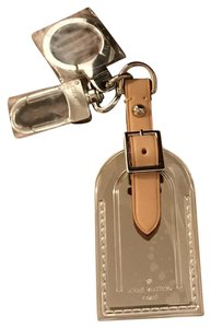 Louis Vuitton Rare Limited Edition Silver Metal Luggage Tag Key Holder Cles
