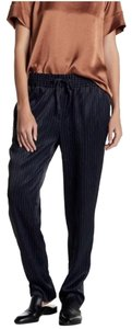DKNY Pinstripe Satin Striped Comfortable Chic Relaxed Pants Black and White