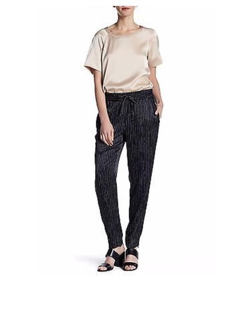 DKNY Pinstripe Satin Striped Comfortable Chic Relaxed Pants Black and White Image 2