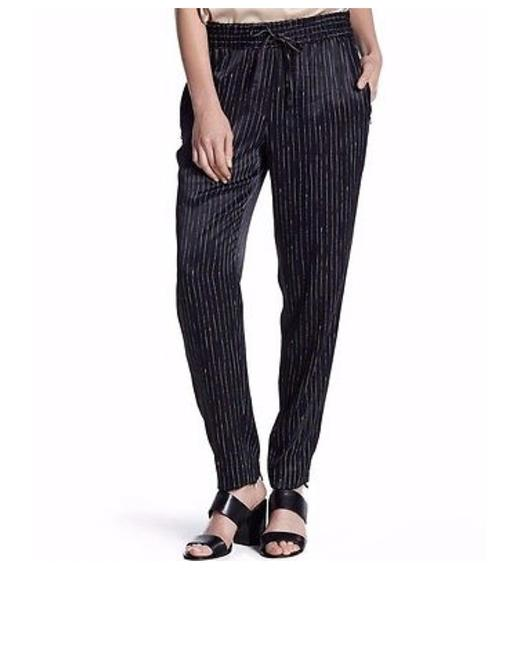 DKNY Pinstripe Satin Striped Comfortable Chic Relaxed Pants Black and White Image 3