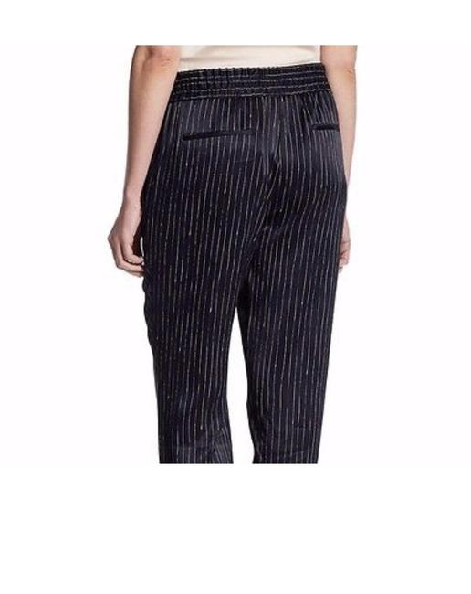DKNY Pinstripe Satin Striped Comfortable Chic Relaxed Pants Black and White Image 5