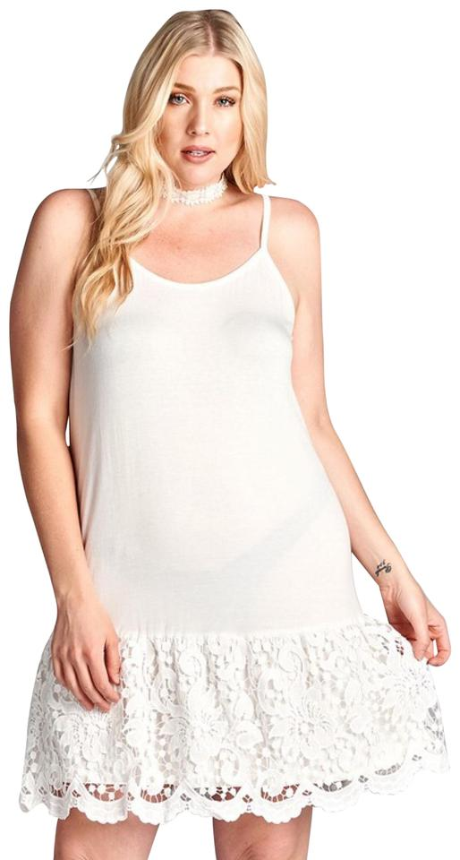 White 1xl Lace Extender Crochet Tunic Tank Top Slip Short Casual Dress Size  20 (Plus 1x) 49% off retail