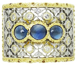 BUCCELLATI Buccellati 18k Yellow & White Gold 1.93CT Diamond 3 Sapphire Open Back