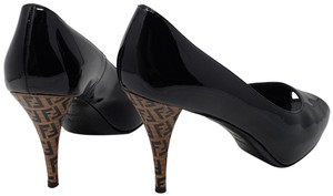 Fendi Zucca Zucchino Logo Peep Toe Patent Leather Black Pumps
