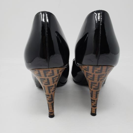 Fendi Zucca Zucchino Logo Peep Toe Patent Leather Black Pumps Image 1
