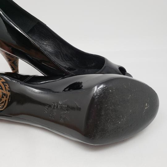 Fendi Zucca Zucchino Logo Peep Toe Patent Leather Black Pumps Image 10