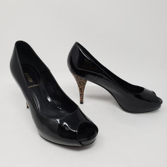 Fendi Zucca Zucchino Logo Peep Toe Patent Leather Black Pumps Image 2