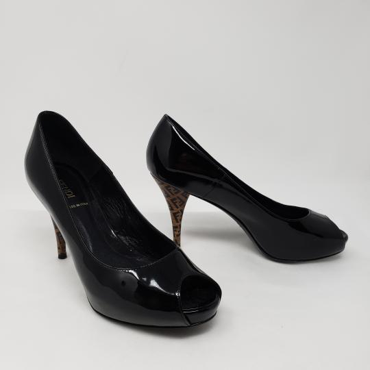Fendi Zucca Zucchino Logo Peep Toe Patent Leather Black Pumps Image 3
