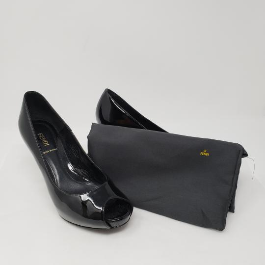 Fendi Zucca Zucchino Logo Peep Toe Patent Leather Black Pumps Image 4
