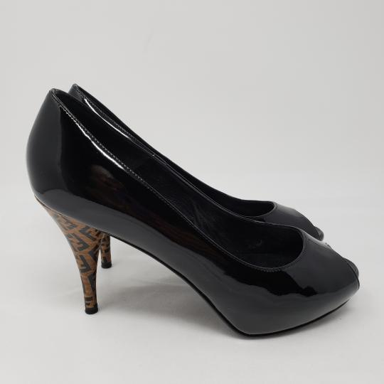 Fendi Zucca Zucchino Logo Peep Toe Patent Leather Black Pumps Image 6