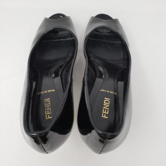 Fendi Zucca Zucchino Logo Peep Toe Patent Leather Black Pumps Image 8