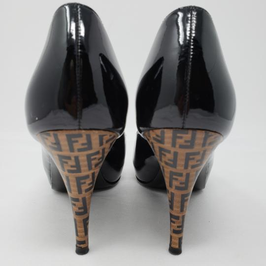 Fendi Zucca Zucchino Logo Peep Toe Patent Leather Black Pumps Image 9