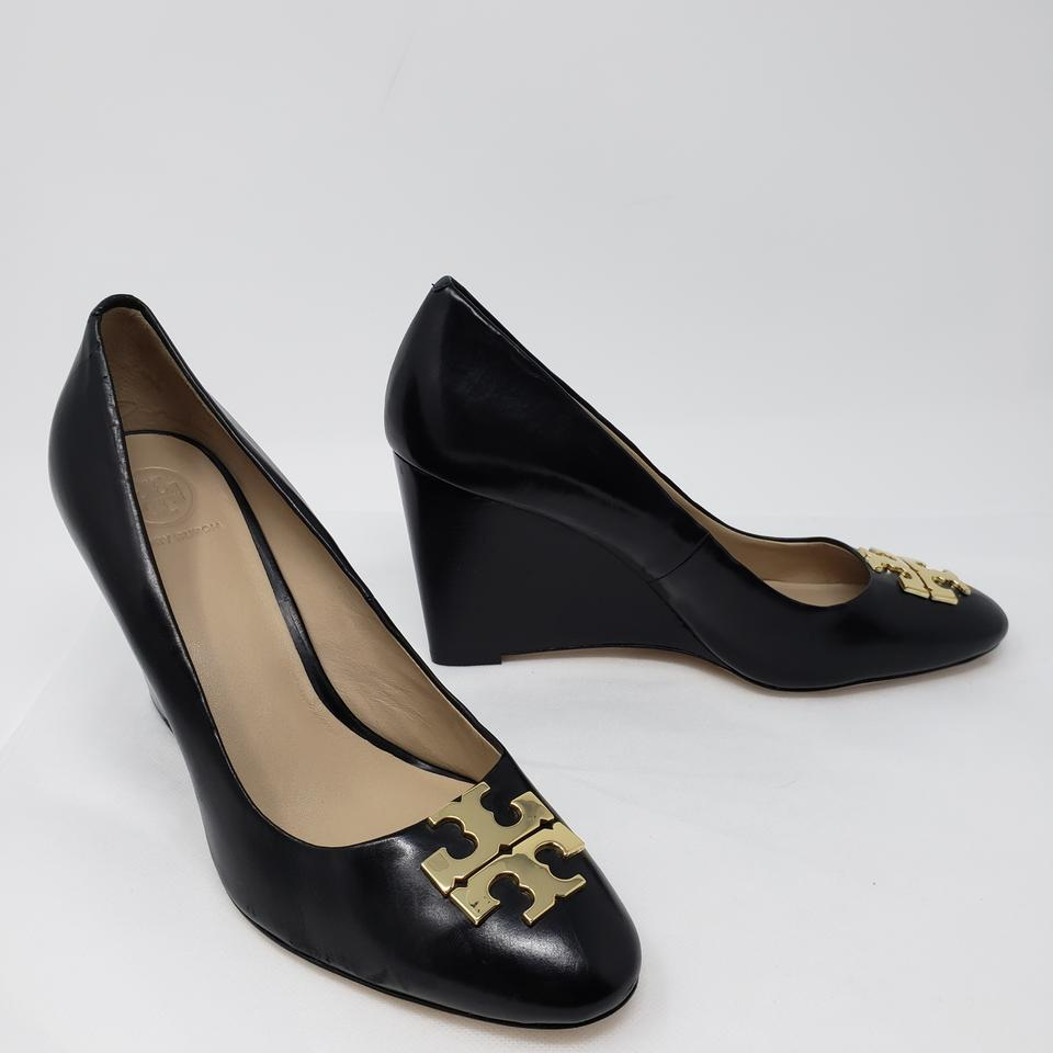 096608ccadc339 Tory Burch Black Raleigh Gold-tone Logo Wedges Pumps Size US 8 ...