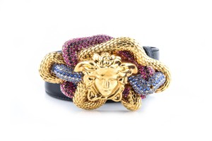 Versace Versace Leather Multicolor Medusa-Buckle Belt