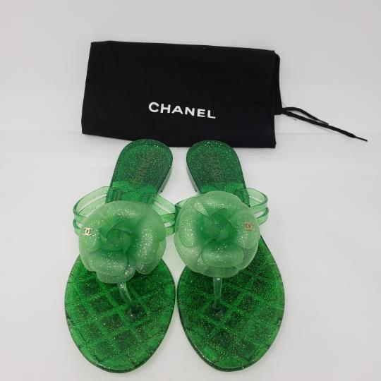 Chanel Jelly Glitter Interlocking Cc Camellia Gold Hardware Green Sandals Image 1