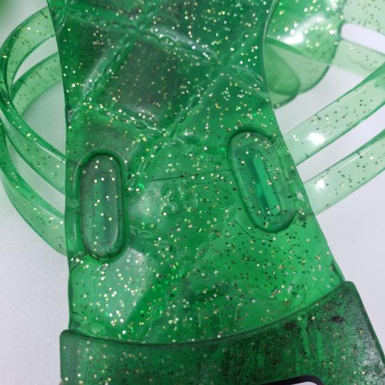 Chanel Jelly Glitter Interlocking Cc Camellia Gold Hardware Green Sandals Image 10