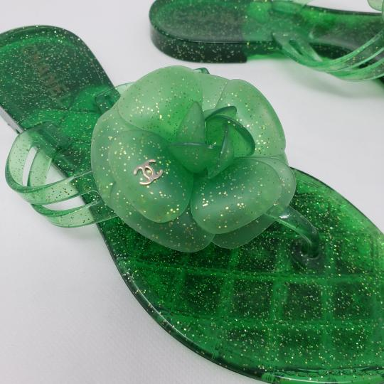 Chanel Jelly Glitter Interlocking Cc Camellia Gold Hardware Green Sandals Image 2