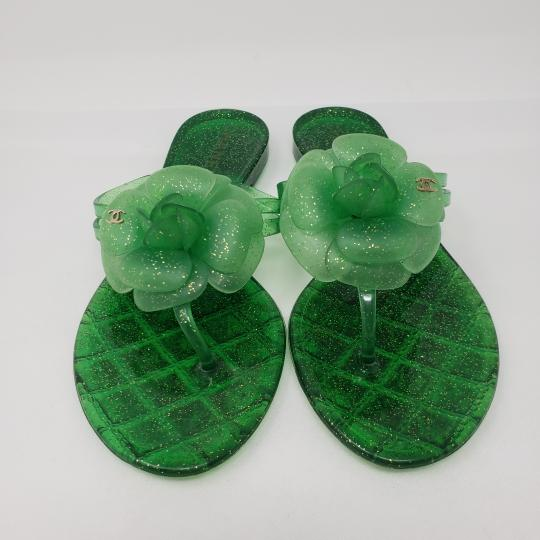 Chanel Jelly Glitter Interlocking Cc Camellia Gold Hardware Green Sandals Image 6