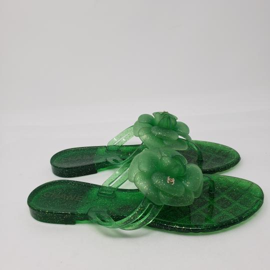Chanel Jelly Glitter Interlocking Cc Camellia Gold Hardware Green Sandals Image 7