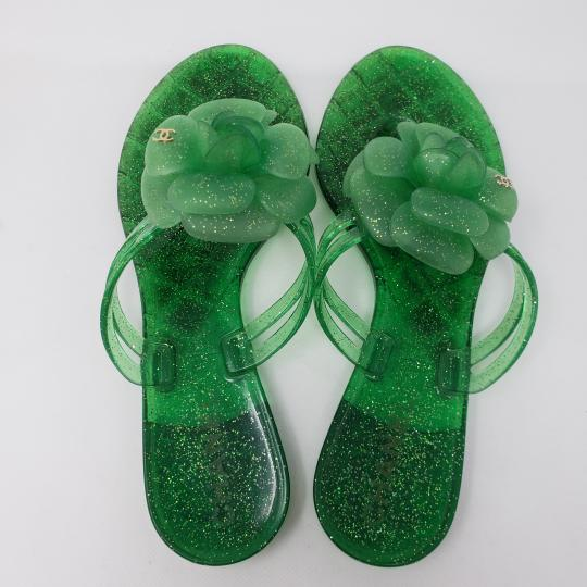 Chanel Jelly Glitter Interlocking Cc Camellia Gold Hardware Green Sandals Image 8