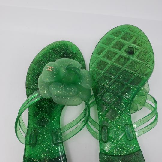 Chanel Jelly Glitter Interlocking Cc Camellia Gold Hardware Green Sandals Image 9