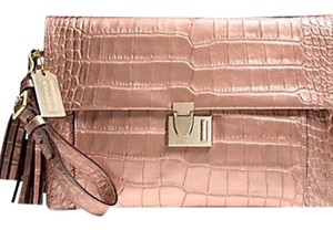 Coach Leather Pink Rosegold Clutch