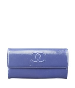 Chanel Chanel A50070 Blue Caviar Patent Leather Snap Wallet (153870)