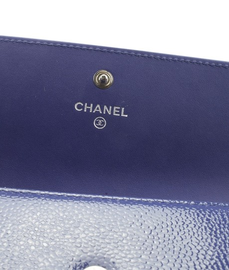 Chanel Chanel A50070 Blue Caviar Patent Leather Snap Wallet (153870) Image 8