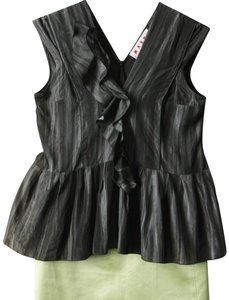 Marni Peplum Ruffle Sleeveless Frill Top dark green