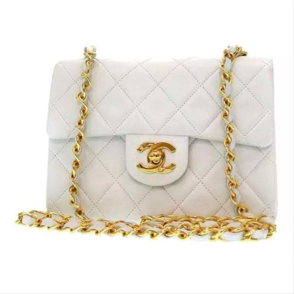9a60ed40548fb9 Chanel Timeless 24k Gold Plated Mini White Lambskin Leather Cross ...