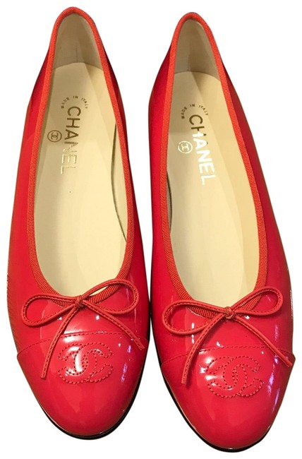 Chanel Coral Patent Leather Ballet