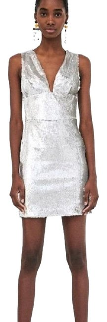 Preload https://img-static.tradesy.com/item/23873518/zara-silver-sequin-med-and-small-available-short-casual-dress-size-12-l-0-1-650-650.jpg
