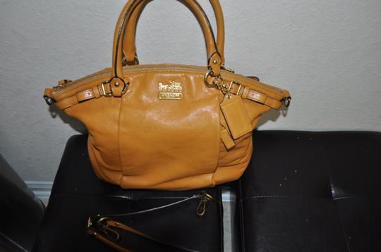 Coach Satchel in mustard/yellow color. Image 2