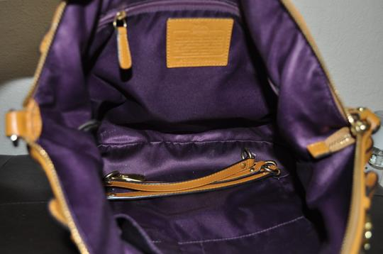 Coach Satchel in mustard/yellow color. Image 4