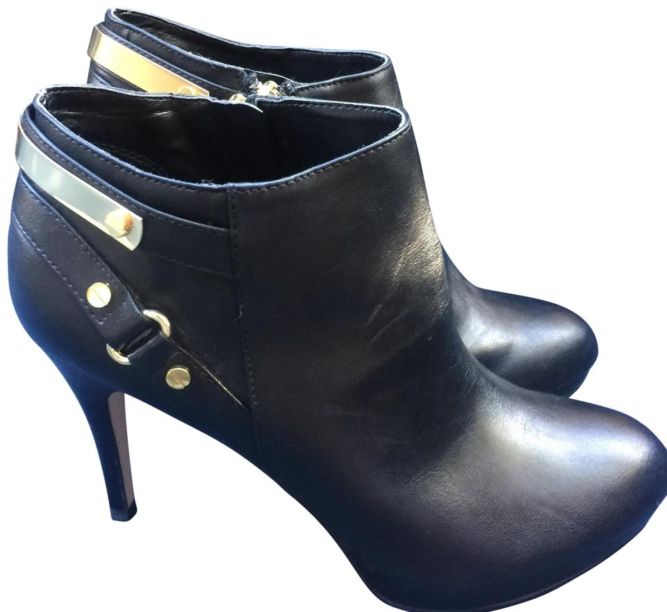 b4c2da7a4d15 Marc Fisher Black Leather Ankle with Stiletto Heel Boots Booties ...