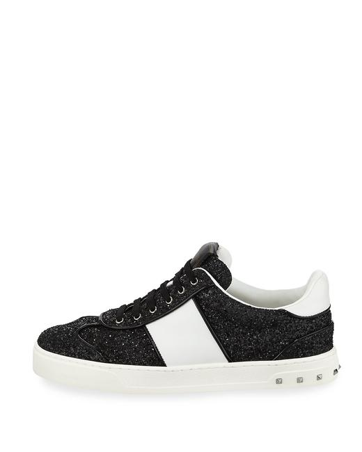 Item - Black/White New Glitter Strap Lace-up Sneakers Size US 9.5 Regular (M, B)