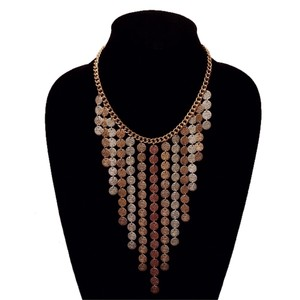 YouBeFab ,Silver, & Copper Tri-color Hammered Drop Disc Statement Necklace