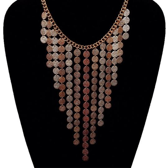 YouBeFab ,Silver, & Copper Tri-color Hammered Drop Disc Statement Necklace Image 1
